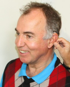 Man Wearing Hearing Aids to Treat Tinnitus
